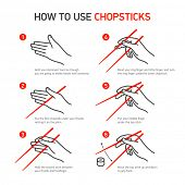 stock photo of chopsticks  - How to use chopsticks guidance - JPG