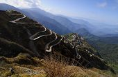 picture of curvy  - Curvy roads on Old Silk Route Silk trading route between China and India Sikkim - JPG