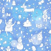 stock photo of blue-bell  - Stylish seamless pattern with Christmas elements - JPG