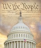 image of superimpose  - US Capitol dome superimposed on the Constitution - JPG