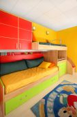 stock photo of bunk-bed  - Interior of colorful kids room with bunk bed - JPG