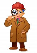 stock photo of crime solving  - detective boy - JPG