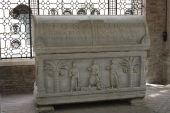 stock photo of alighieri  - a huge sarcophagus in the small area where Dante Alighieri is buried in Ravenna - JPG