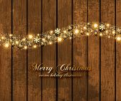 foto of freeze  - Abstract Christmas Background with Golden Snowflakes - JPG