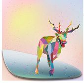 Christmas Deer trendy hipster style geometric shapes vecto