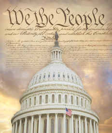 pic of superimpose  - US Capitol dome superimposed on the Constitution - JPG
