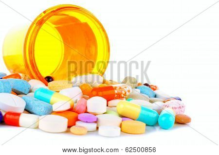 Bottle of spilling medicine