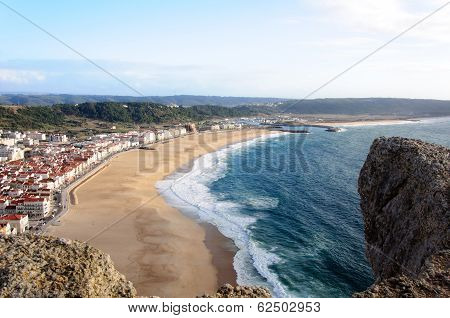 View Over Nazare Beach In Portugal