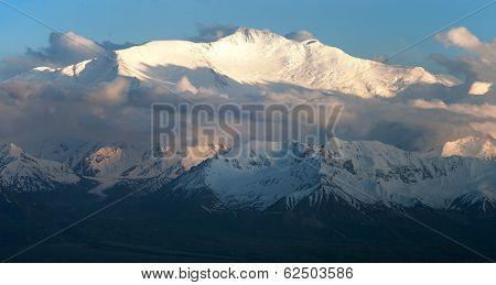 Evening View Of Lenin Peak From Alay Range - Kyrgyz Pamir Mountains - Kyrgyzstan And Tajikistan Bord