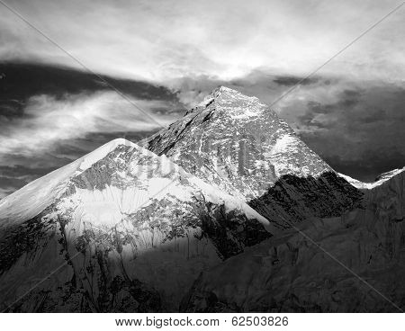 Evening Black And White View Of Everest From Kala Patthar - Trek To Everest Base Camp - Nepal