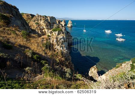 Ponta Da Piedade, Natural Formation In Algarve´s Coast Near Lagos Town, Portugal