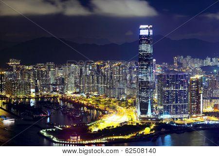 Kowloon peninsula in Hong Kong at night