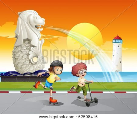 Illustration of the kids playing near the statue of Merlion