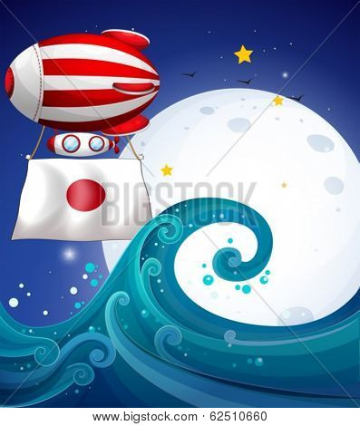 Illustration of a floating balloon with the flag of Japan