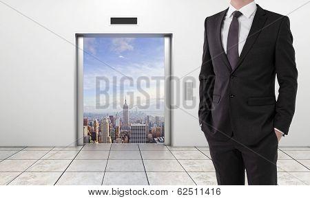 Elevator With Opened Door To City