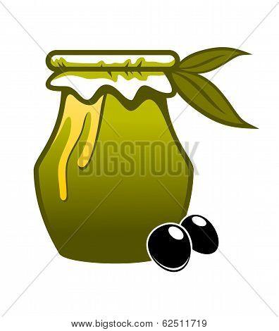 Jar of fresh green olive oil