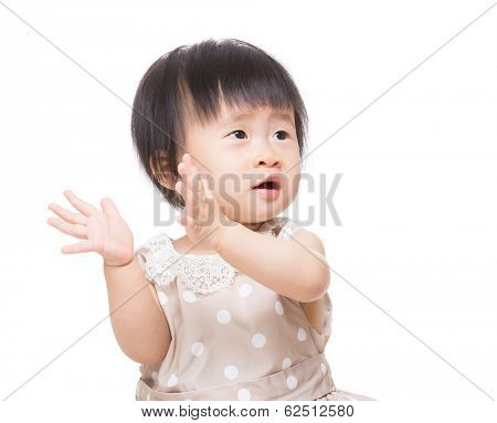 Asian baby girl clapping hand