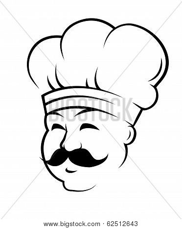 Smiling chef with a curling black moustache