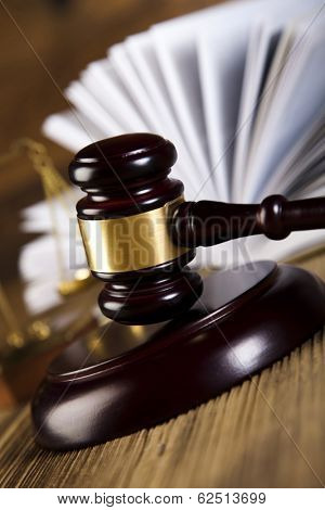 Legal gavel on a law book