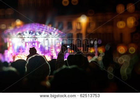 Photographing With Smartphone During A Public Concert