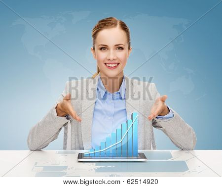 business, technology, internet and office concept - smiling businesswoman with tablet pc computer and increasing chart