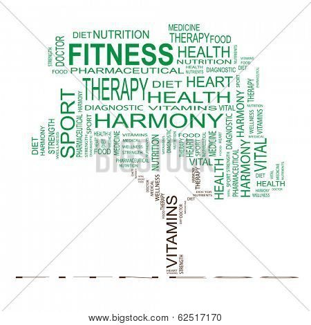 Conceptual green tree made of health text as wordcloud isolated on white background