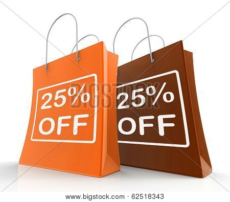 Twenty-five Percent Off On Shopping Bags Shows 25 Bargains