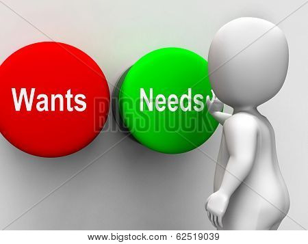Wants Needs Buttons Shows Materialism Happy Life Balance
