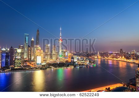 Shanghai Skyline In Nightfall