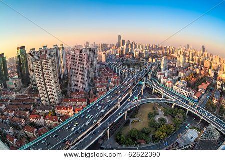 Modern City Viaduct Junction At Dusk