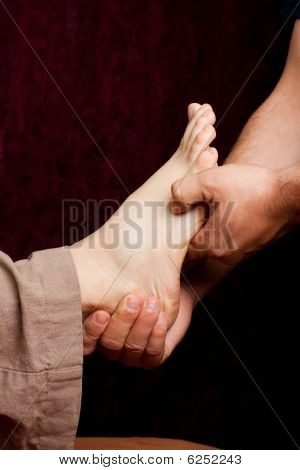 Alternative medicine - acupressure foot treatment