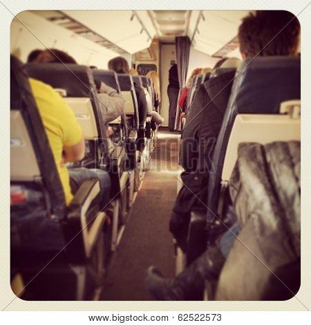 View inside airplane - instagram effect