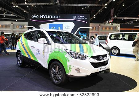 Nonthaburi - March 25: Hyundai Tucson Car On Display At The 35Th Bangkok International Motor Show On