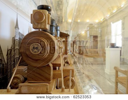 Wooden Train Model at the Boise Idaho Capitol