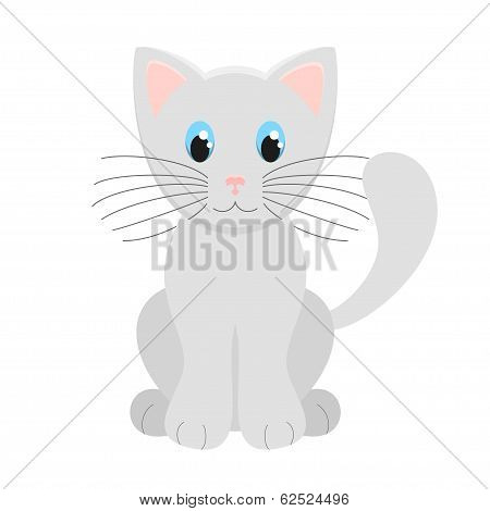 Cute Light Grey Kitten Vector Illustration On White Background