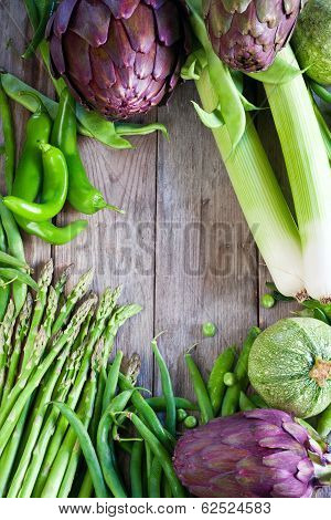 Green Vegetables And Old Wood Background