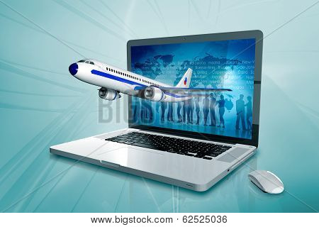 a laptop with worldmap and plane on the screen
