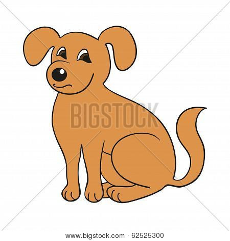 Red Cute Smiling Dog On White Background. Vector Illustration