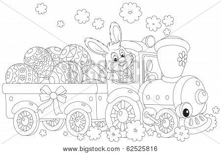 Bunny carries Ester eggs by train