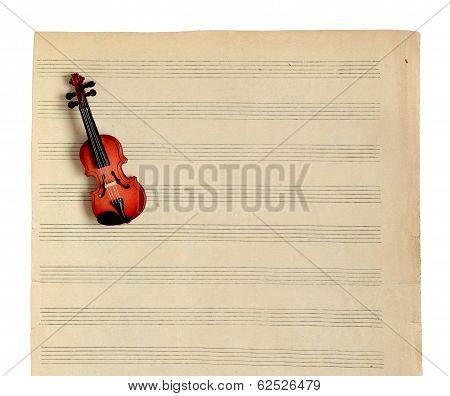 Music Notes And Violin.