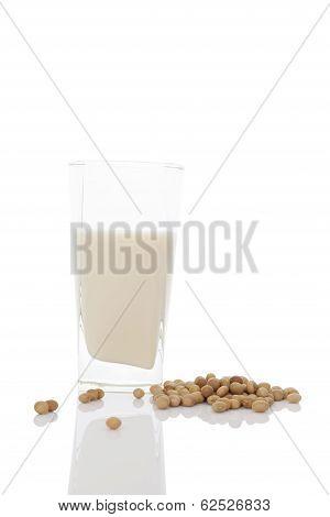 Glass Of Organic Soya Milk.
