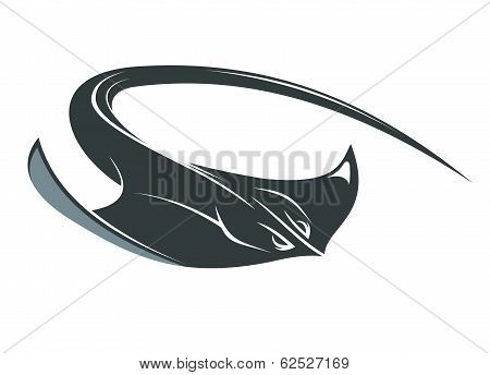 Swimming manta or sting ray