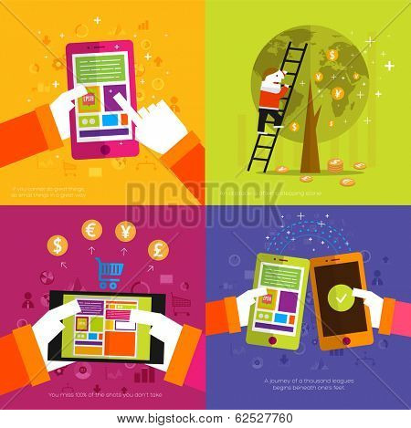 Set of icons. Flat Design. Mobile Phones, Tablet PC, Web and Apps vector icons. Marketing and Time Management Services Illustrations. Digital Art. Responsive internet advertising and pay templates.