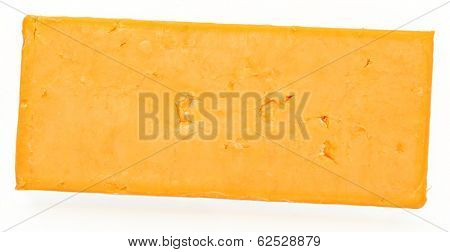 Top View Block of Cheddar Cheese Over White