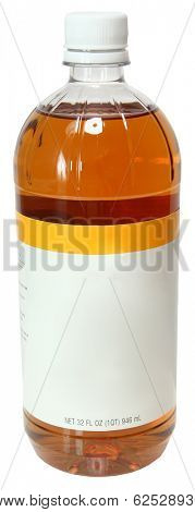 Blank Label Bottle Apple Cider Vinegar Over White
