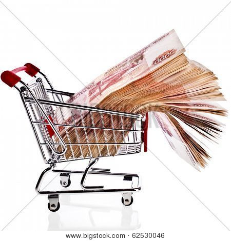 One Million Banknotes Rubles of the Russian Federation in Shopping basket cart - isolated on white background