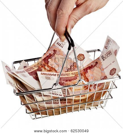 One Million Russian  Banknotes Rubles of the Russian Federation  in your shopping basket cart - isolated on white background