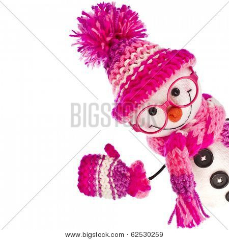 cheerful snowman wearing glasses eyewear in  knitted pink hat , scarf,  mittens -isolated on white background