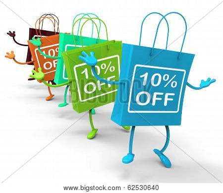 Ten Percent Off On Colored Shopping Bags Show Bargains