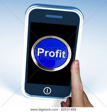 Profit On Phone Shows Profitable Incomes And Earnings